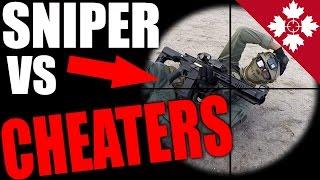 Airsoft CHEATERS! VS SNIPER!   Airsoft Sniper Scopecam Gameplay