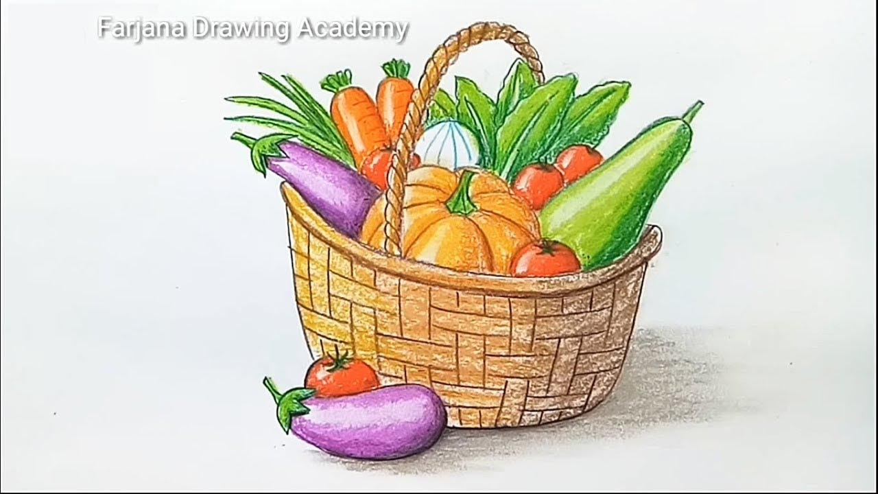 How To Draw Vegetables Basket Step By Step Youtube