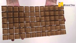 Glass Mosaic Tile Backsplash Taupe 1x1 - 101CHIGLABR116