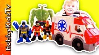 City Ambulance Imaginext Robin Hurt! Batman Plankton + Venom Fire Emergency HobbyKidsTV