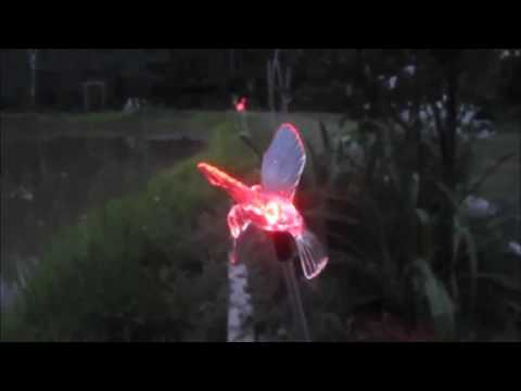 Solar Garden Stake Lights Color Changing Hummingbird