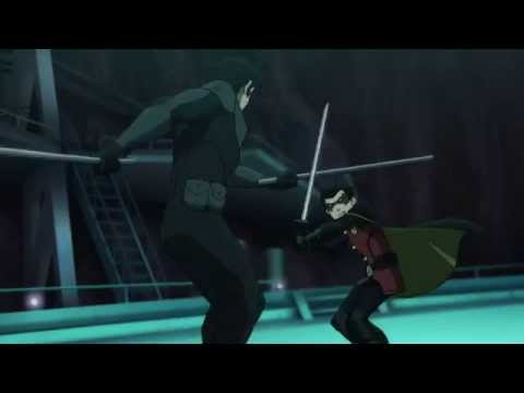 Nightwing vs. Robin in the Batcave