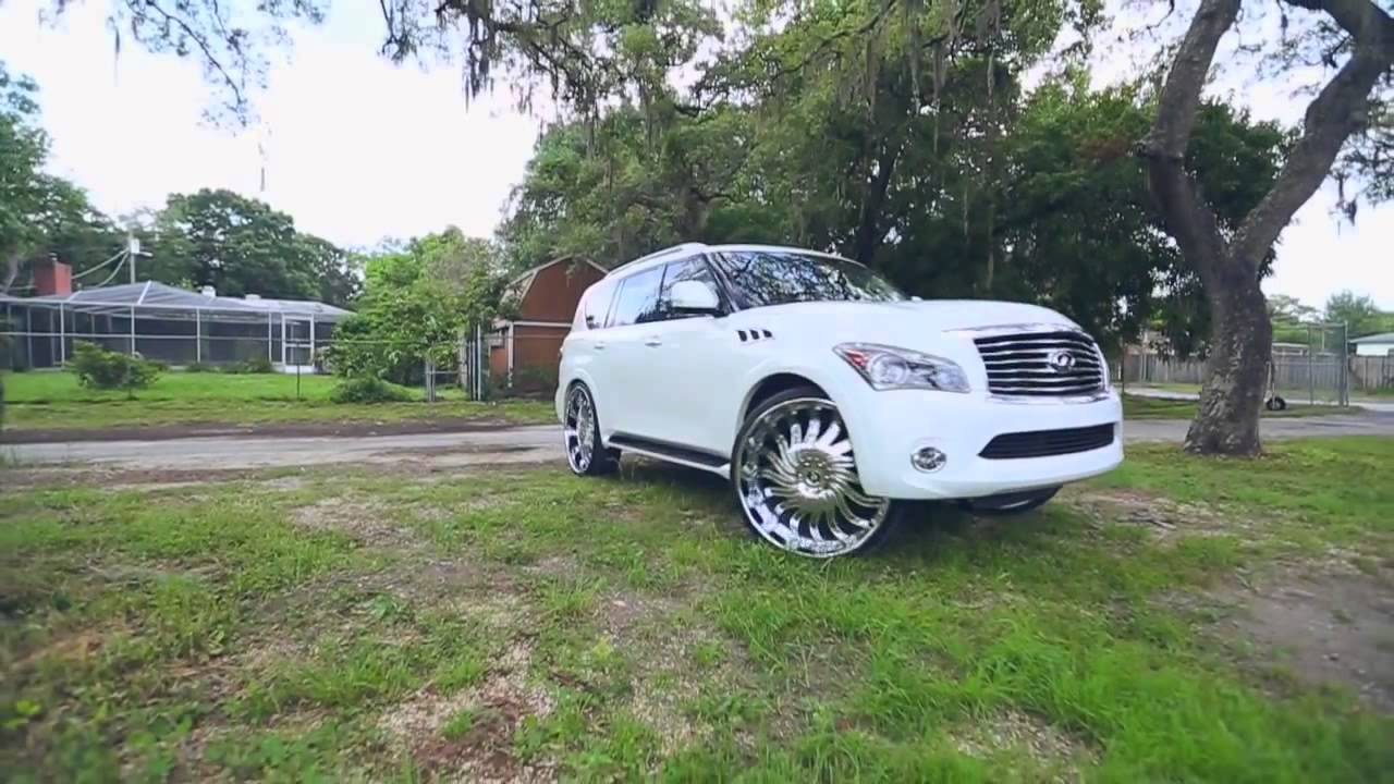 White infiniti qx56 on 30 amani forged rims youtube vanachro Choice Image