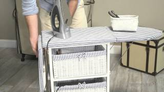 White Wood Wicker Ironing Board Center With 3 Foldable Baskets