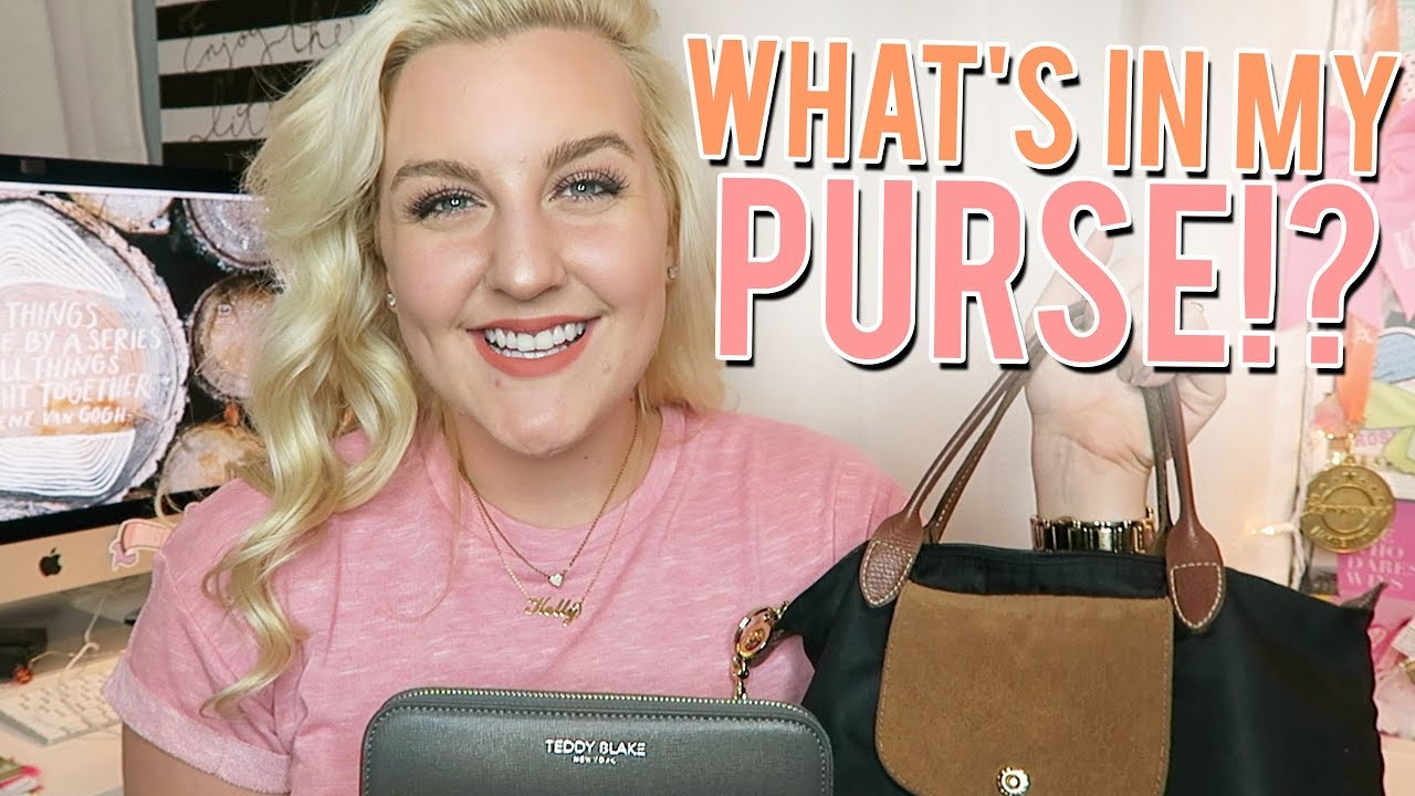 119d14ab9647 WHAT S IN MY PURSE!  (Small LONGCHAMP Le Pliage   Teddy Blake Wallet ...