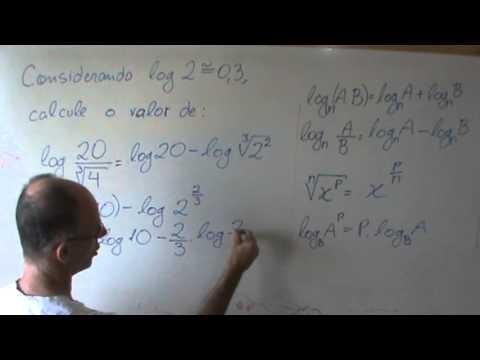 Logaritmo fração e raiz propriedades