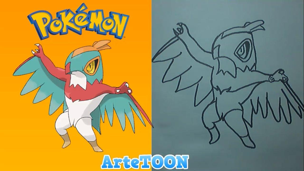 Como dibujar a Hawlucha paso a paso  Pokemon  How to draw