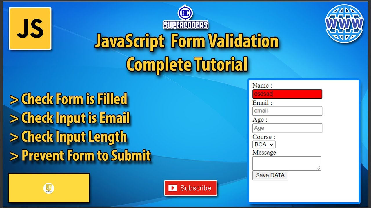Complete the Form Validation Tutorial with Javascript | JS Form Validation Inputs