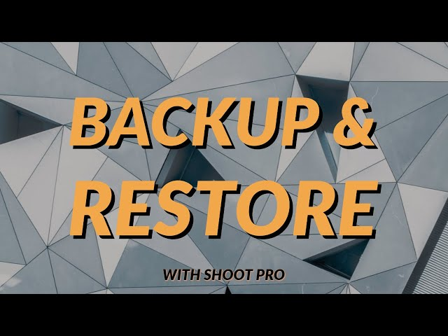Backup and Restore | 3S Shooting Sports Software