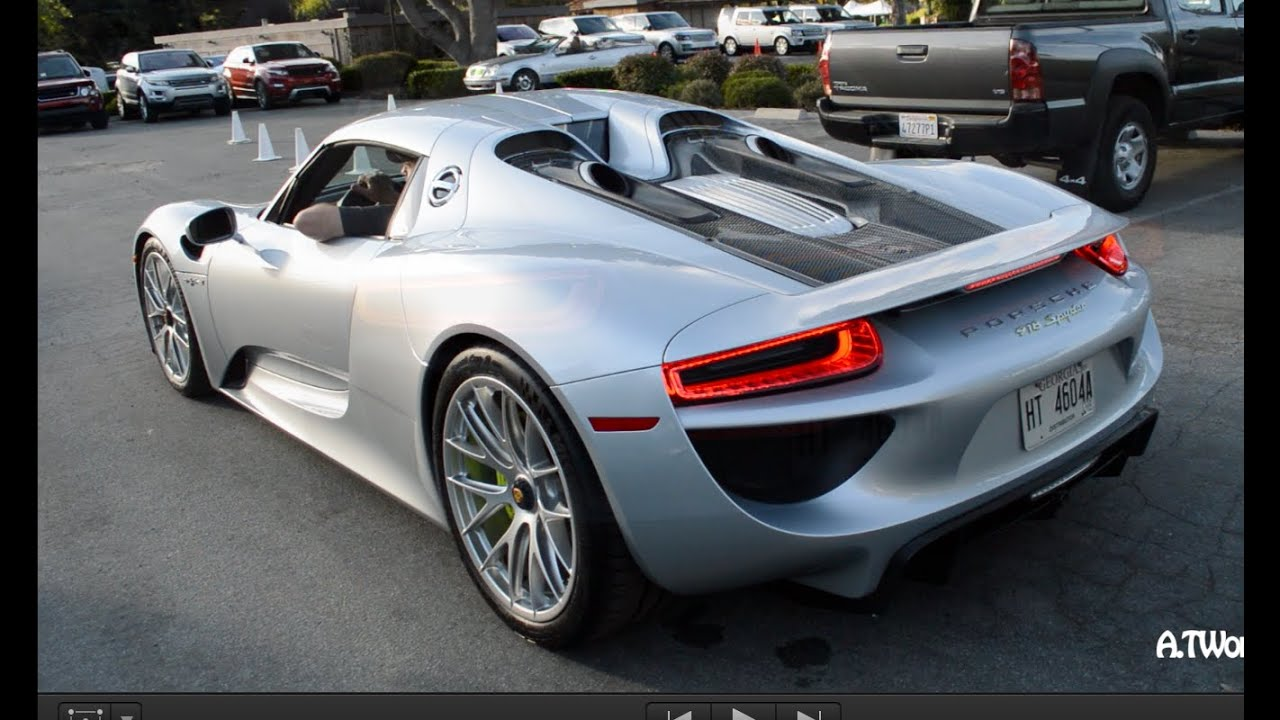 porsche 918 spyder driving in electric mode exhaust sound monterey car week 2014 youtube. Black Bedroom Furniture Sets. Home Design Ideas