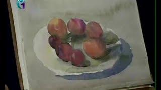 Уроки рисования (№ 42) акварелью. Рисуем фрукты на тарелке: персики и сливы, виноград(Передача