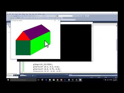 opengl mini project to draw HUT with opengl polygon function