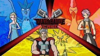 Thor on Zapdos vs Natsu on Moltres vs Elsa on Articuno | DEATH BATTLE Cast thumbnail