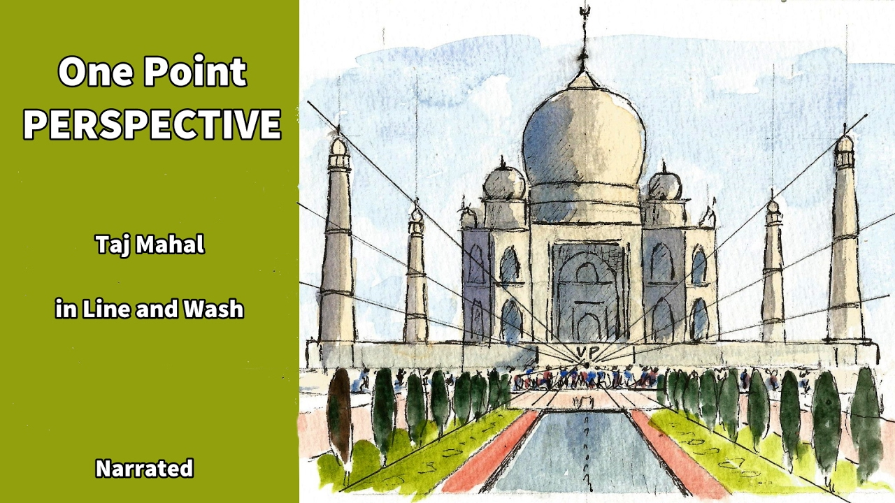 how to draw and paint in watercolor the taj mahal using one point perspective