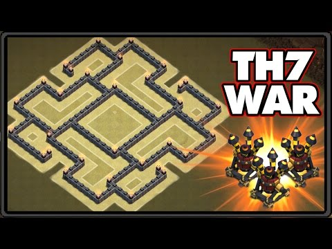 NEW UPDATE 2016   Town Hall 7 War Base With 3 Air Defenses!   TH7 War Base CoC 2016!