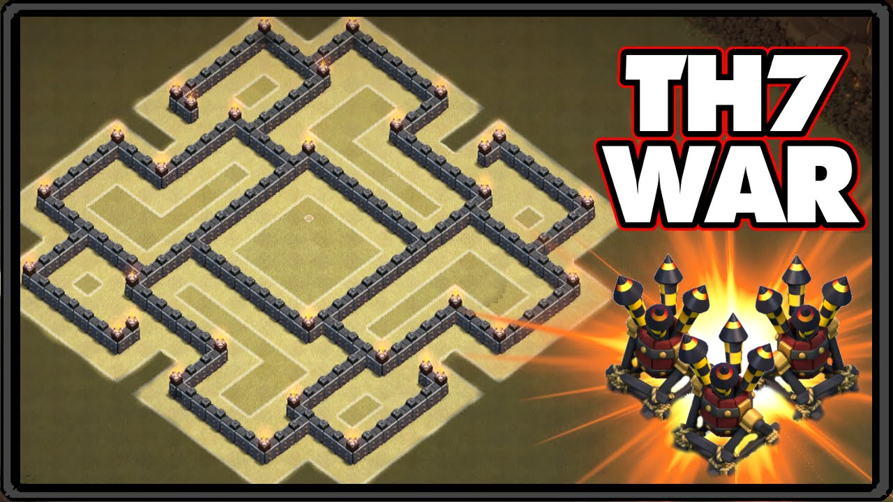 New Update 2016 Town Hall 7 War Base With 3 Air Defenses Th7 War Base Coc 2016 Youtube