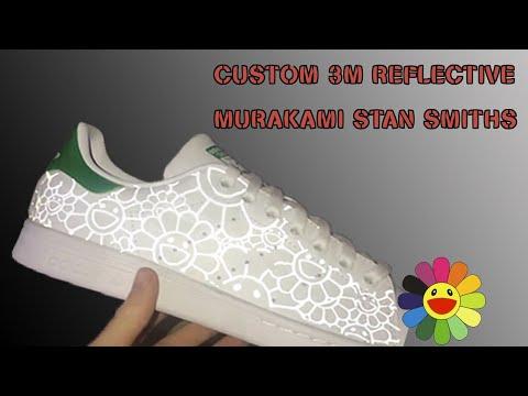HOW TO MAKE 3M REFLECTIVE SNEAKERS   CUSTOM STAN SMITH MURAKAMI IRON ON TRANSFER KICKS