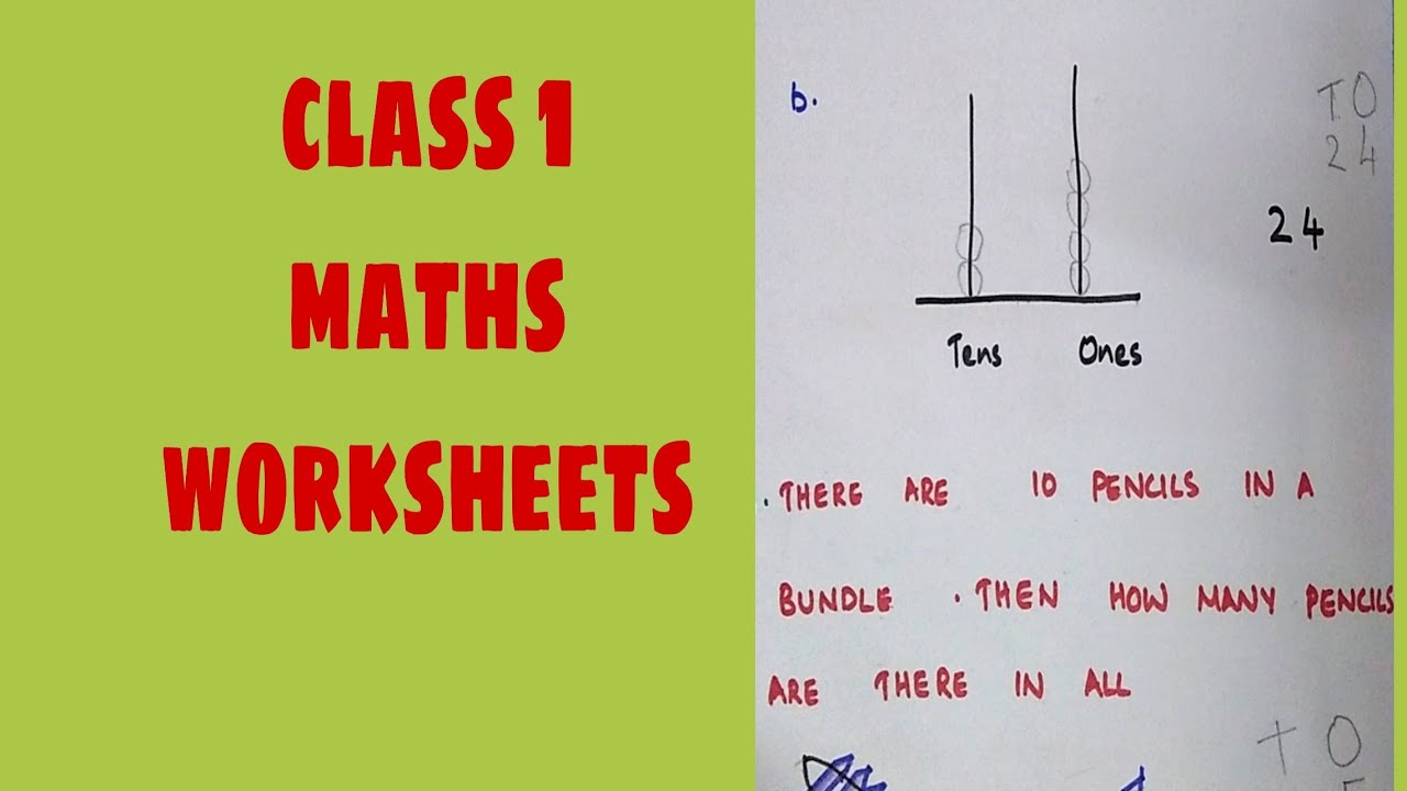 Class 1 Maths Worksheets Youtube