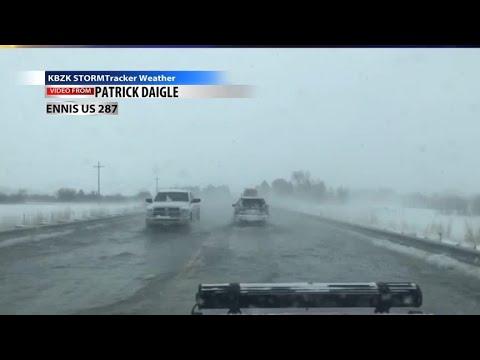 Ice jam flooding over US 287 Ennis