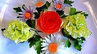 Цветы из капусты. Украшения из овощей. Decoration Of Vegetables. Flowers of cabbage