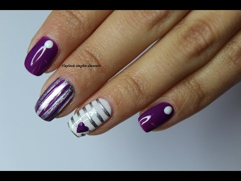 Video tutorial 143 Nail art viola,bianca e argento con strisce e cuore, By  Flaylook