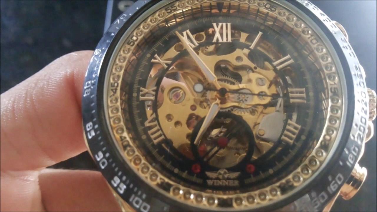 92c39fcea91 Relógio Masculino Winner Esqueleto Automático - YouTube