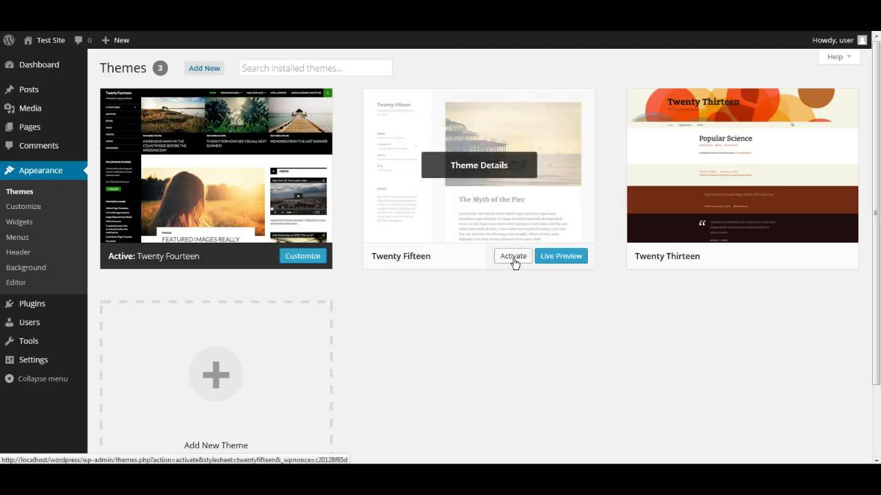 Wordpress 101 how to install a wordpress theme 2015 youtube for Wordpress subcategory template
