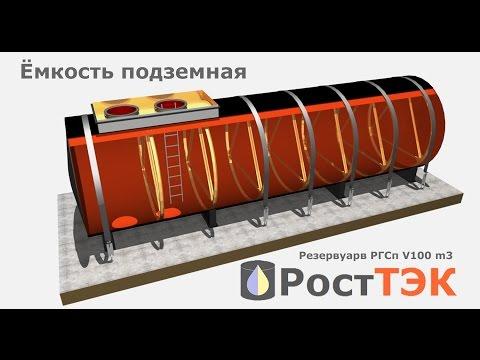 Подземный резервуар стальной , объемом 100 м3  для хранения жидких веществ.