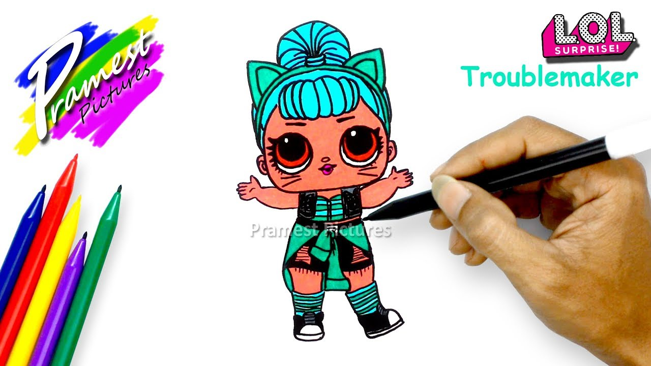 How to draw lol surprise doll troublemaker coloring pages