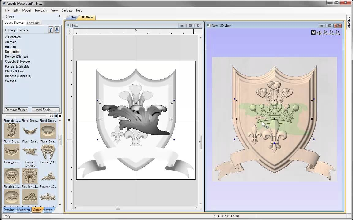 Vectric V8 Tutorials - Simple Crest 3D Assembly