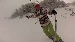 Snowboard backcountry first turn Thumbnail