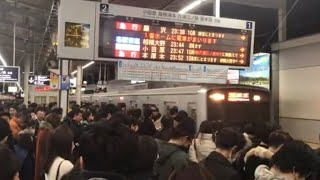 【終電撮影】小田急代々木上原駅と大混雑の最終電車
