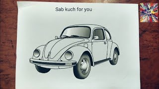 #5 How to draw Classic car  Volkswagen Beetle   Step by step easily
