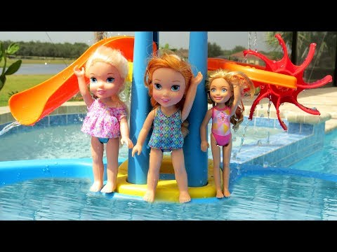 Thumbnail: WATER PARK ! Elsa & Anna toddlers empty the Pool ? Water Fun - Swim - Pool Party - Splash - Sand