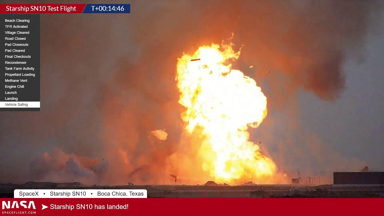 Прототип корабля Starship снова взорвался после посадки