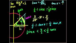 Доказательство lim(sinx)/x=1