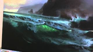 PAINTING FOAM on a Seascape in Oils by Alan Kingwell