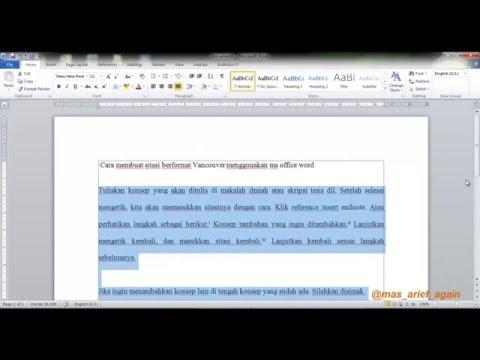 cara menulis sumber pustaka format vancouver menggunakan ms office word