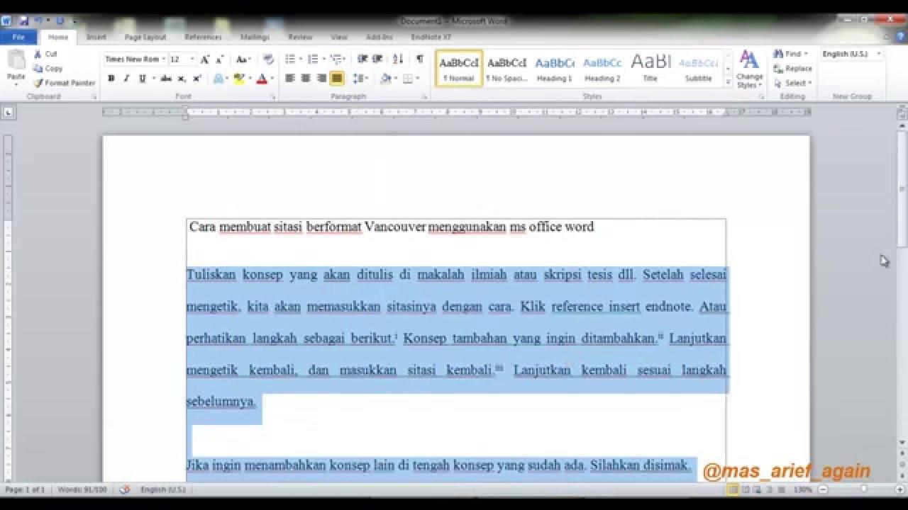 Cara Menulis Sumber Pustaka Format Vancouver Menggunakan Ms Office