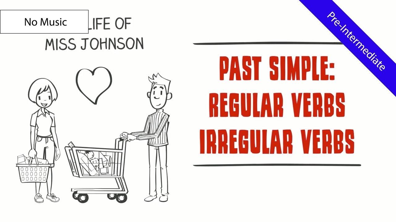 Past Simple Tense - Regular & Irregular Verbs: Life of Miss Johnson  (Comical ESL Video) (No Music)