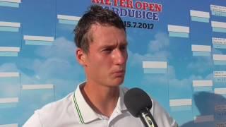 David Poljak po výhře v 1. kole na turnaji Futures v Pardubicích