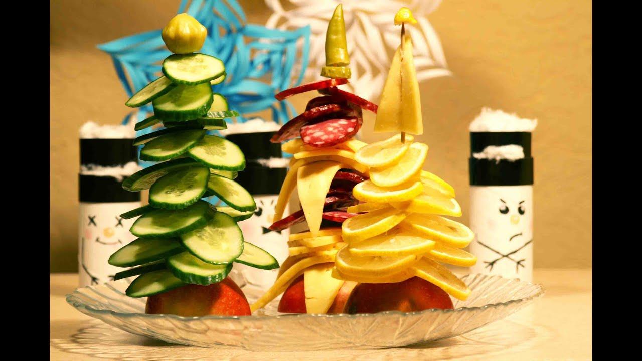 Украшение новогоднего стола. ★ Ёлка из колбасы и сыра ...