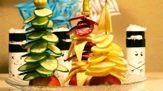 Украшение новогоднего стола.  ★ Ёлка из колбасы и сыра ★