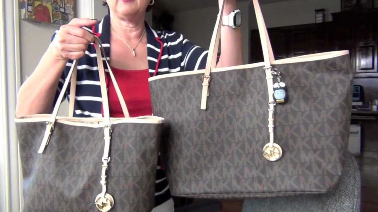 look for less michael kors jet set travel tote youtube. Black Bedroom Furniture Sets. Home Design Ideas