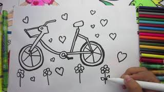 Coloring Bicycle and Drawing Ice Cream for Kids