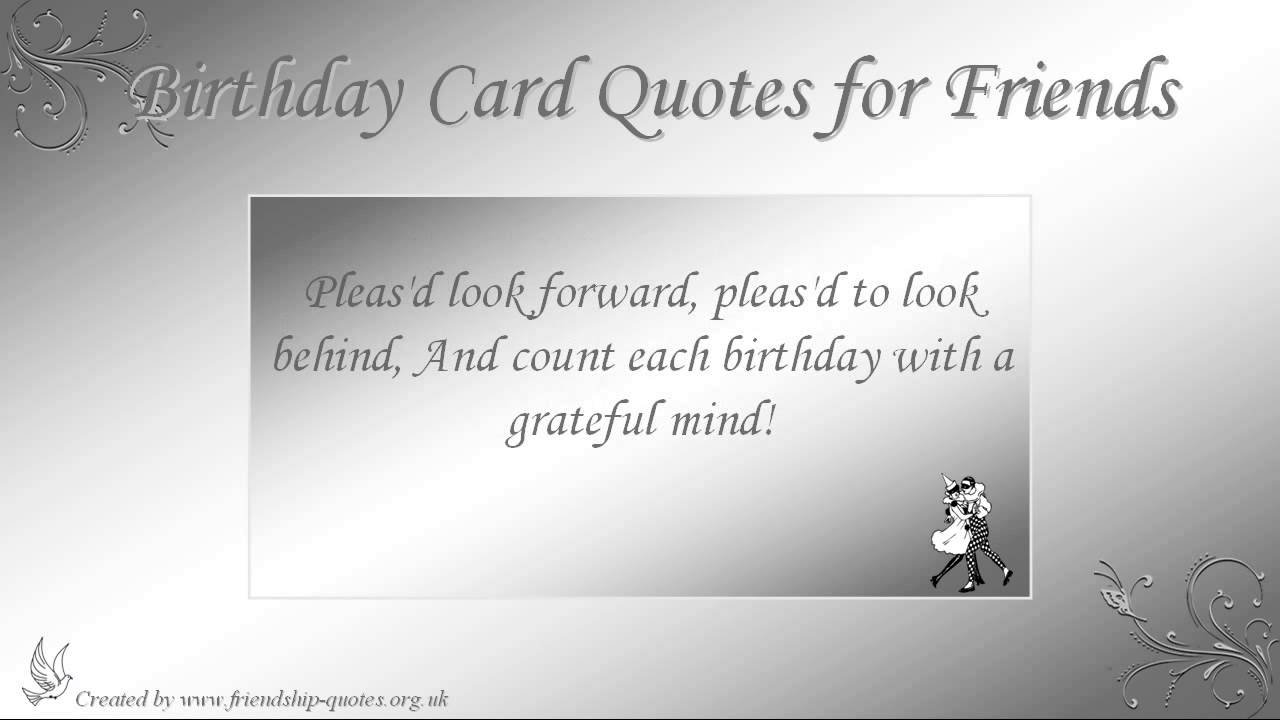 Birthday Card Quotes for Friends YouTube – Birthday Card with Quotes