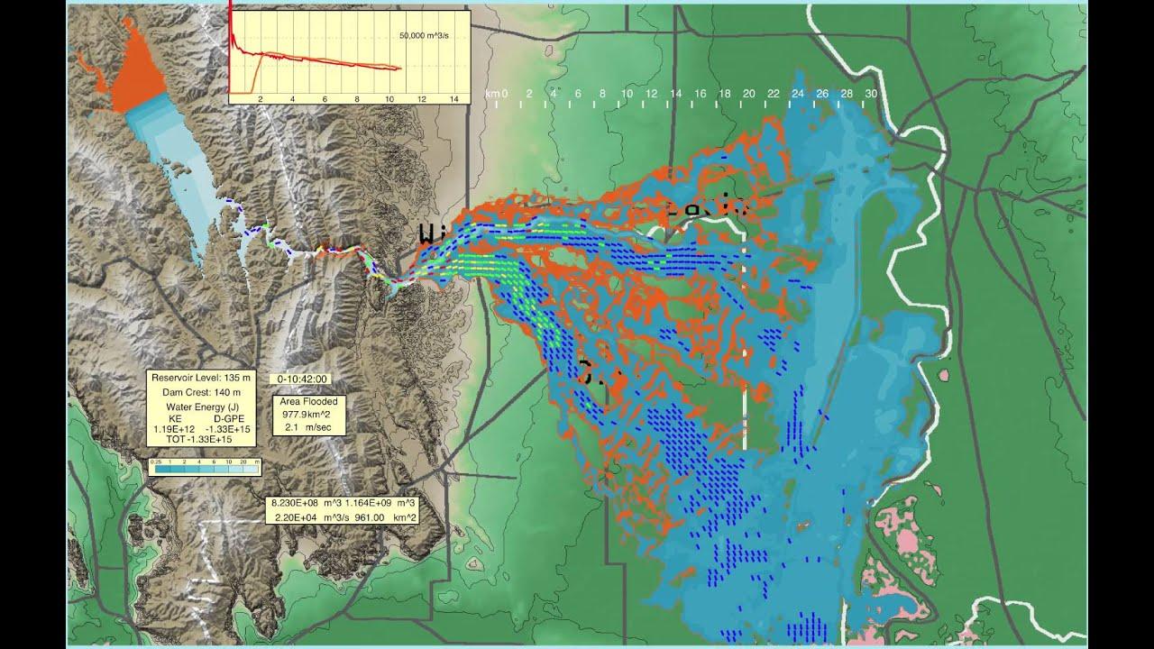 Oroville California Map >> Lake Berryessa's Monticello Dam Failure Simulation - YouTube