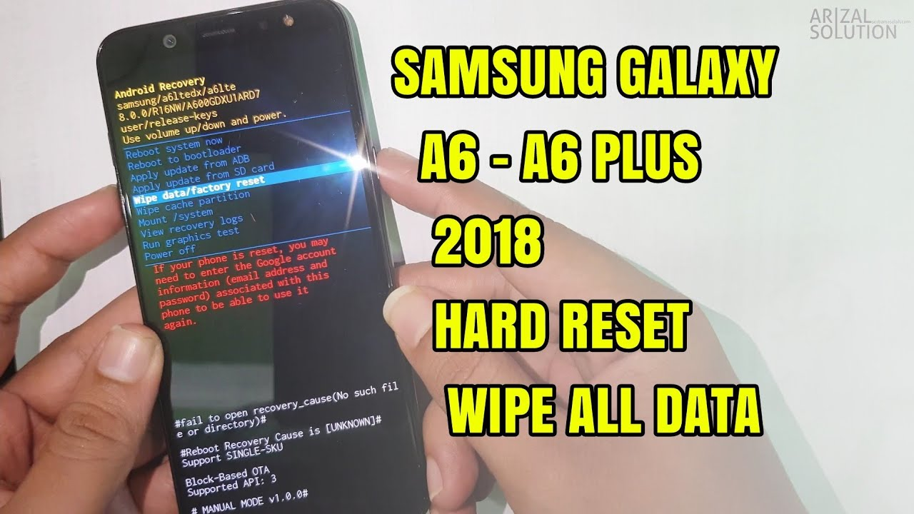 Samsung A6 SM-A600 / A6+ Plus SM-A605 Wipe All Data Factory Hard Reset  Forgot Password Pattern