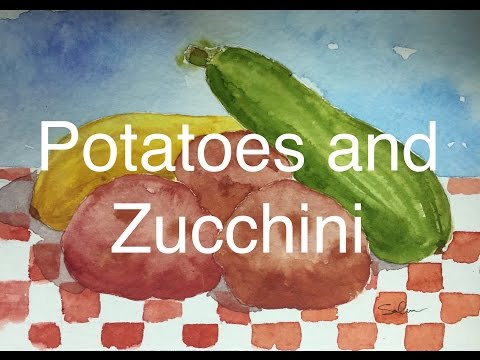 How To Paint Vegetables in Watercolour Zucchini Squash Potato Watercolor Tutorial Still Life