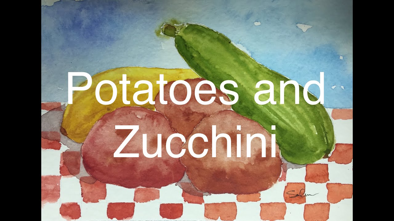 how to paint vegetables in watercolour zucchini squash potato